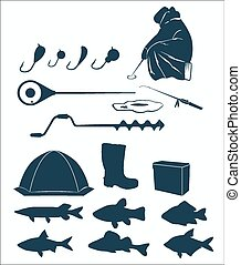 Winter fishing icons on the white background Vector