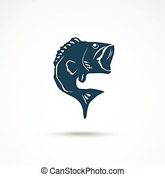 Fish icon on the gray background. Vector