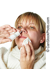 Sick with a rhinitis woman dripping nose medicine isolated...