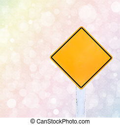 Colorful bokeh background and traffic sign - Yellow traffic...