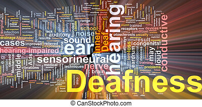 Deafness word cloud glowing - Word cloud concept...