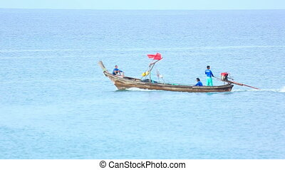 Longtail boat near bang Karon beach in Phuket island.