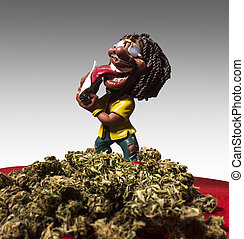 Rastaman figure is preaparing himself a joint.