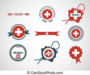 Made in Switzerland - set of seals, badges. Vector...