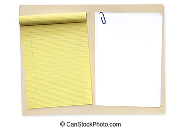 File Folder with Notepad and Paper - Open manila file...