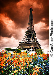 Eiffel tower with abstract red sky