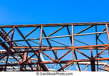 Rural disused steel construction - Old rusty abandoned...