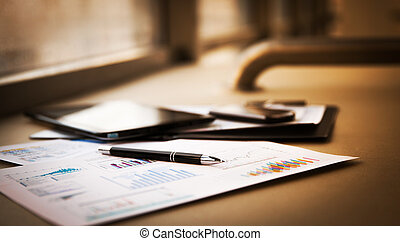 business documents with charts growth, keyboard and pen...