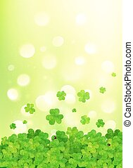 Light green vector background with clovers