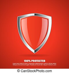 Red shield protection icon - Red shield protection vector...