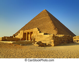 Mastaba and Great Pyramid in Egypt - The entrance of the...