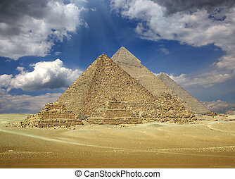 Great pyramids in Egypt - Great pyramids at Giza Cairo in...