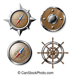 Set of Steel and Wooden Nautical elements isolated on white