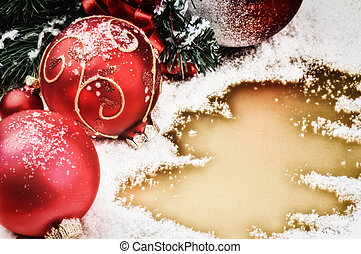 Christmas ornaments in red tone