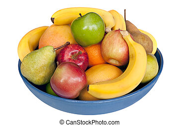 Bowl of Fruit - Blue bowl of fresh fruit, isolated on white....