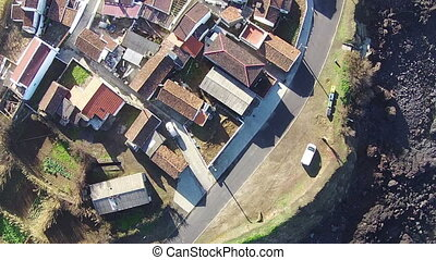 Flying over the Typical Small Town, Mosteiros Sao-Miguel...