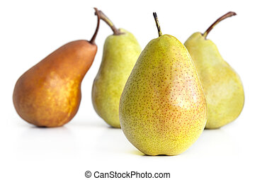 Pears - Selection of pears, with focus on front golden pear...