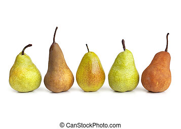 Pears in a Row - Pears in a row, isolated on white...