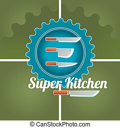Kitchen logo - Cooking colored doodle logo with utensil...