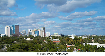Skyline of Fort Lauderdale, Florida - Dramatic scenic view...