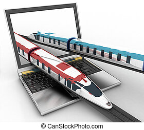 Trains coming out of a laptop 3d render illustration