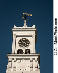 clocktower - Weather vane following the wind against a blue...