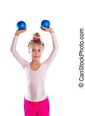 blond fitness kid girls exercise sand balls workout - blond...