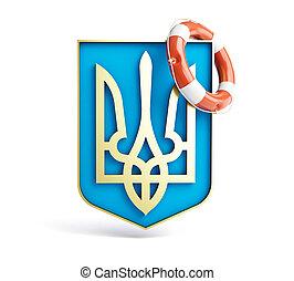 Ucrania,  lifebuoy, blanco, emblema, Plano de fondo,  JPG
