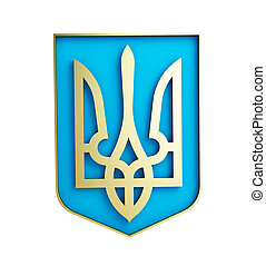 Ucrania, blanco, emblema, Plano de fondo