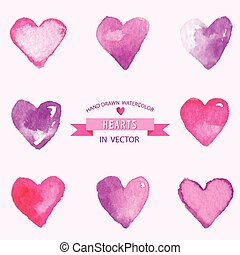 Set of Hearts - hand drawn in Watercolor - vector