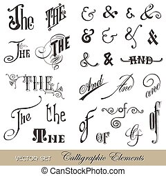 Calligraphic Ands and Thes - for design and scrapbook - in vector