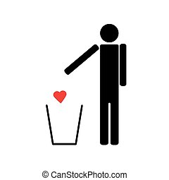 A man throws a red heart in the trash
