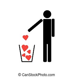 Man throws out a few red hearts in the trash - The human...