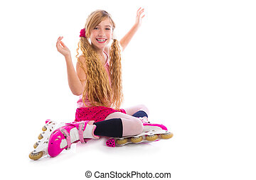blond pigtails roller skate girl sitting happy on white...