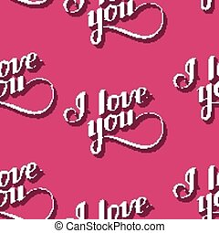 vector seamless pattern of handwritten I love you retro...