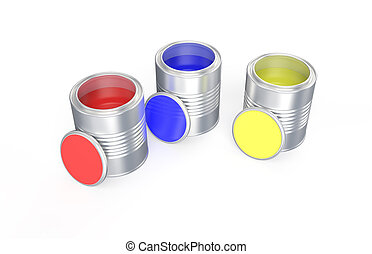 Cans with red, blue and yellow paint isolated on white...