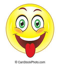 smiley, mostrando, língua,