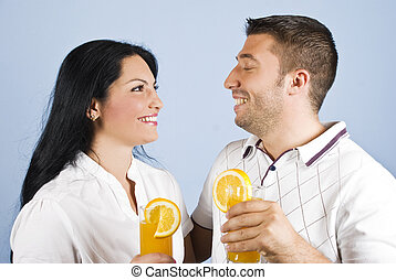Healthy couple laughing together