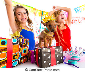 girl friends party dancing with presents and puppy chihuahua...