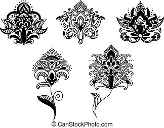 Black lace paisley flowers in persian style - Abstract lace...