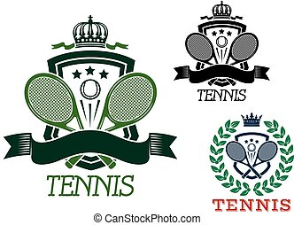 Tennis heraldic emblems on crowned shields