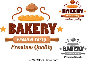 Fresh and Tasty brown bakery emblem - Bakery logo or emblem...
