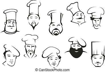 Chef or cook characters in cartoon sketch style in toques...