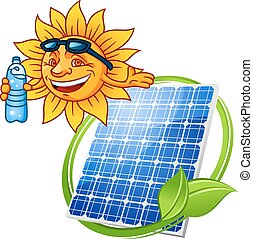Cartoon solar panel with sun