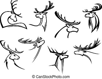 Proud profile of deer in outline style - Outline sketch deer...