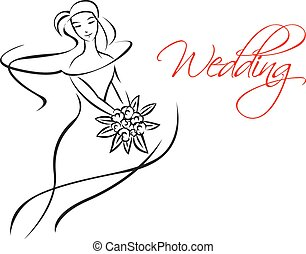 Outline silhouette of bride with flowers