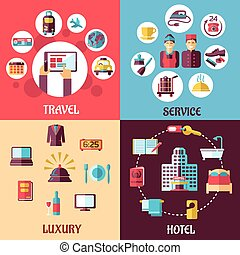 Travel and hotel services flat concept - Travel and services...