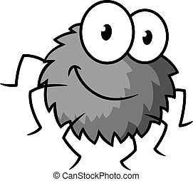 Cartoon cute gray little spider character - Cartoon funny...