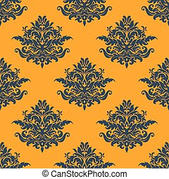 Seamless dark blue floral pattern