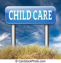 child care center road sign in daycare or crèche by nanny or...